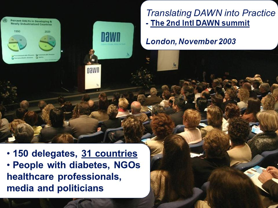 Slide no 17 Soren E. Skovlund DAWN Programme Novo Nordisk August 2004 Translating DAWN into Practice - The 2nd Intl DAWN summit London, November 2003