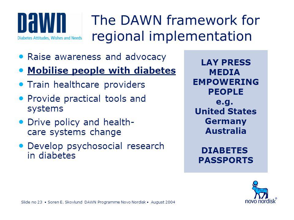 Slide no 23 Soren E. Skovlund DAWN Programme Novo Nordisk August 2004 Raise awareness and advocacy Mobilise people with diabetes Train healthcare prov