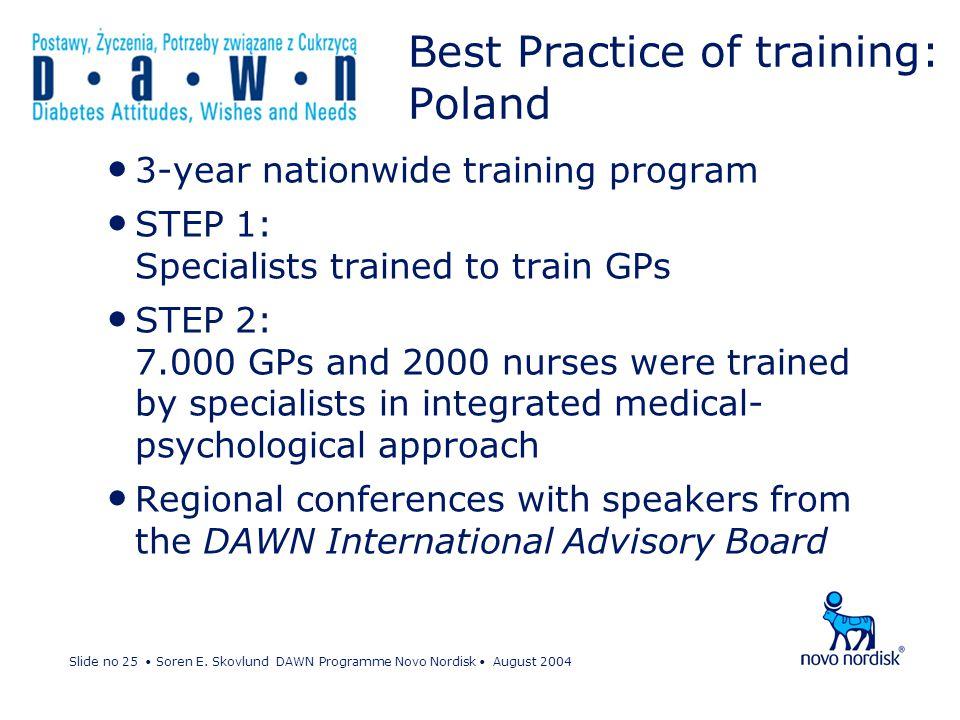 Slide no 25 Soren E. Skovlund DAWN Programme Novo Nordisk August 2004 Best Practice of training: Poland 3-year nationwide training program STEP 1: Spe
