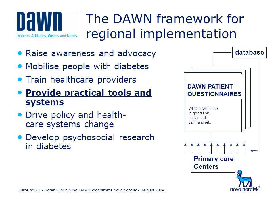 Slide no 28 Soren E. Skovlund DAWN Programme Novo Nordisk August 2004 The DAWN framework for regional implementation Raise awareness and advocacy Mobi