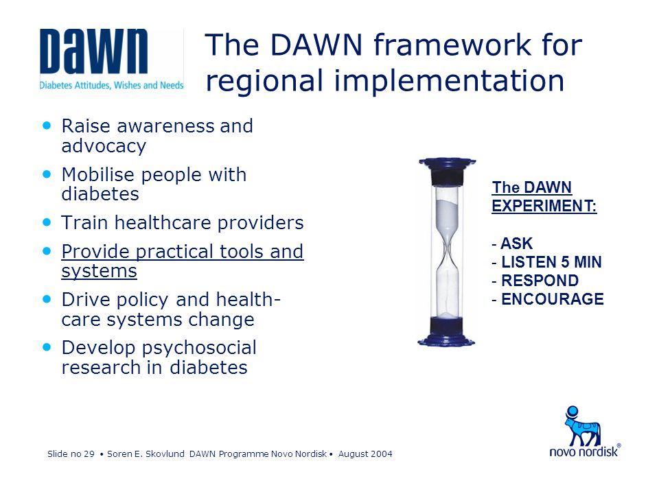 Slide no 29 Soren E. Skovlund DAWN Programme Novo Nordisk August 2004 The DAWN framework for regional implementation The DAWN EXPERIMENT: - ASK - LIST
