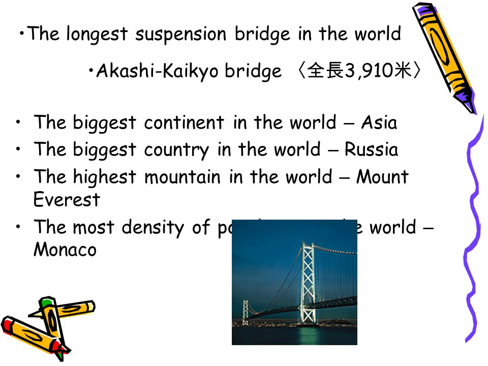 The biggest continent in the world – Asia The biggest country in the world – Russia The highest mountain in the world – Mount Everest The most density of population in the world – Monaco The longest suspension bridge in the world Akashi-Kaikyo bridge 〈全長 3,910 米〉