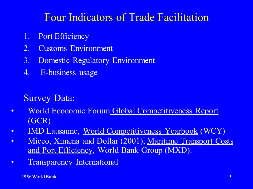 JSW World Bank5 Four Indicators of Trade Facilitation 1. Port Efficiency 2. Customs Environment 3.Domestic Regulatory Environment 4. E-business usage