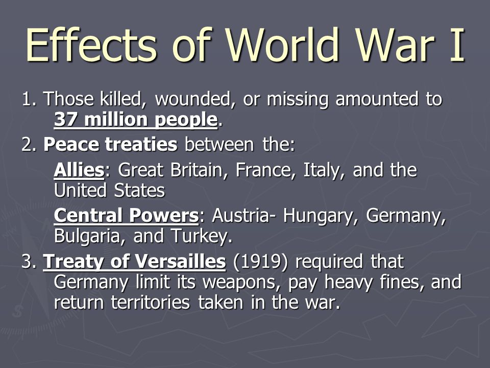 Effects of World War I 1.Those killed, wounded, or missing amounted to 37 million people.
