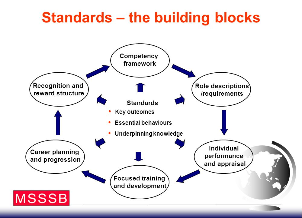 Standards – the building blocks Competency framework Standards Recognition and reward structure Career planning and progression Focused training and d