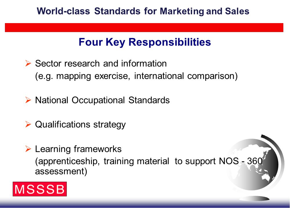 Four Key Responsibilities  Sector research and information (e.g. mapping exercise, international comparison)  National Occupational Standards  Qual