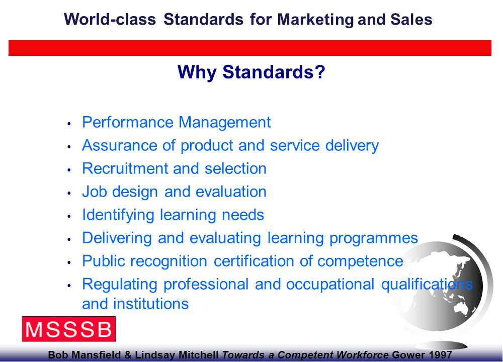 For further information, contact Chahid Fourali 01628 427106 Page 27 World-class Standards for Marketing and Sales Revision work