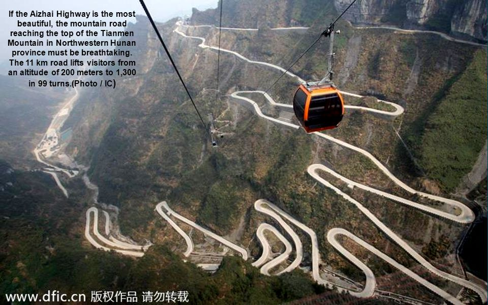 If the Aizhai Highway is the most beautiful, the mountain road reaching the top of the Tianmen Mountain in Northwestern Hunan province must be breatht