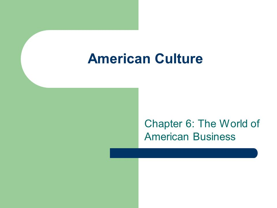 American Culture Chapter 6: The World of American Business