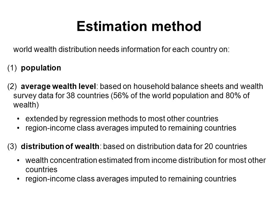 Estimation method world wealth distribution needs information for each country on: (1) population (2) average wealth level: based on household balance