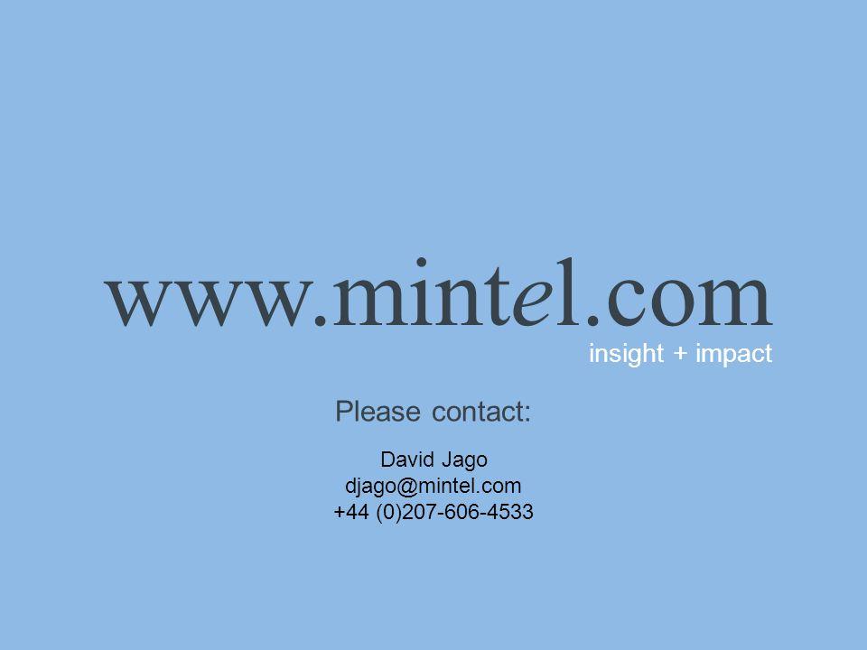 www.mintel.com insight + impact Please contact: David Jago djago@mintel.com +44 (0)207-606-4533