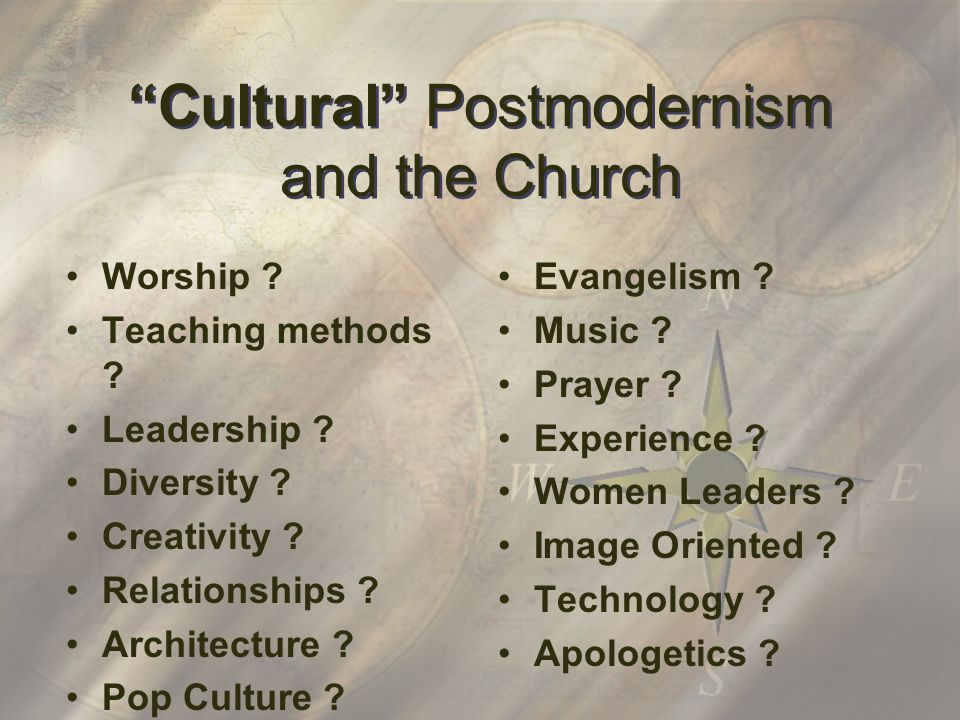 Cultural Postmodernism and the Church Worship . Teaching methods .