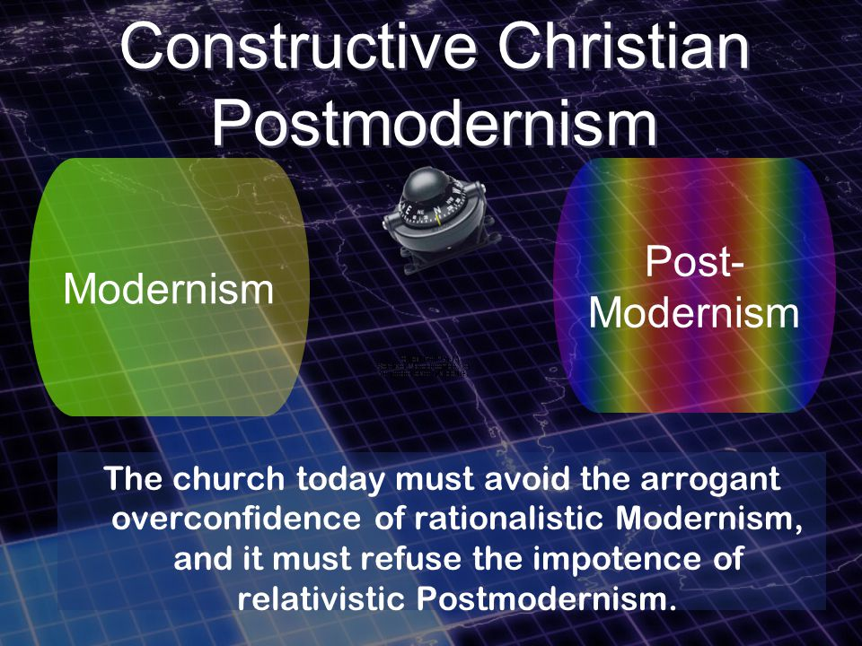 Modernism Post- Modernism The church today must avoid the arrogant overconfidence of rationalistic Modernism, and it must refuse the impotence of relativistic Postmodernism.