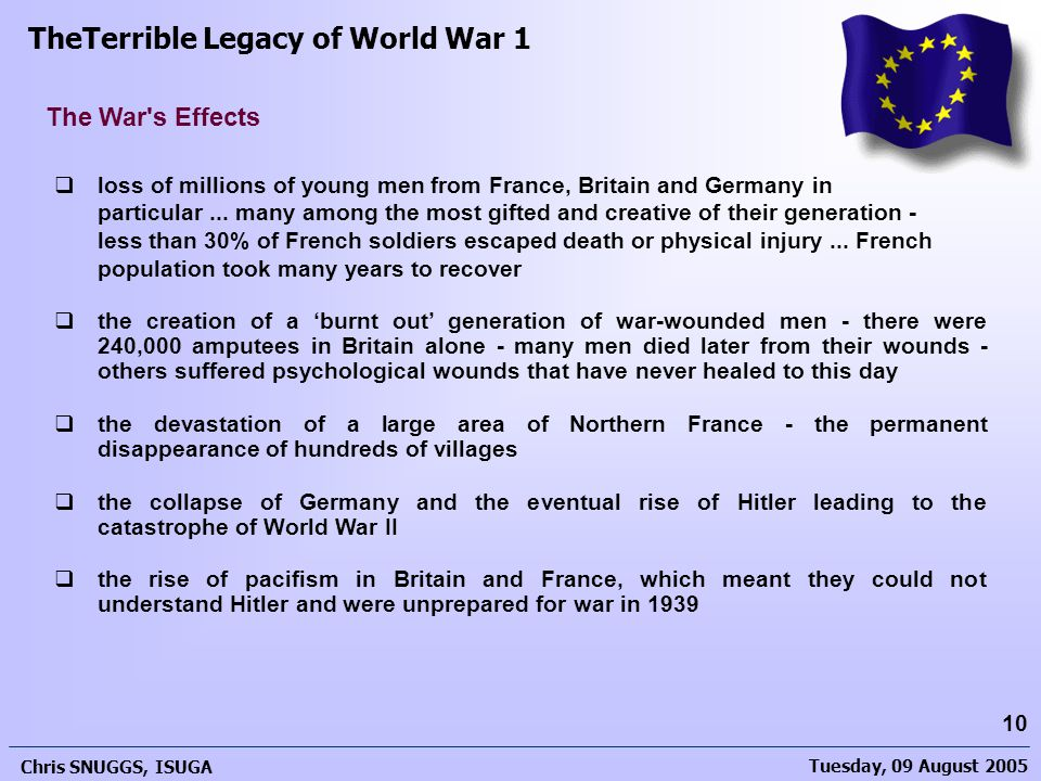 Tuesday, 09 August 2005 Chris SNUGGS, ISUGA 10 The War s Effects  loss of millions of young men from France, Britain and Germany in particular...