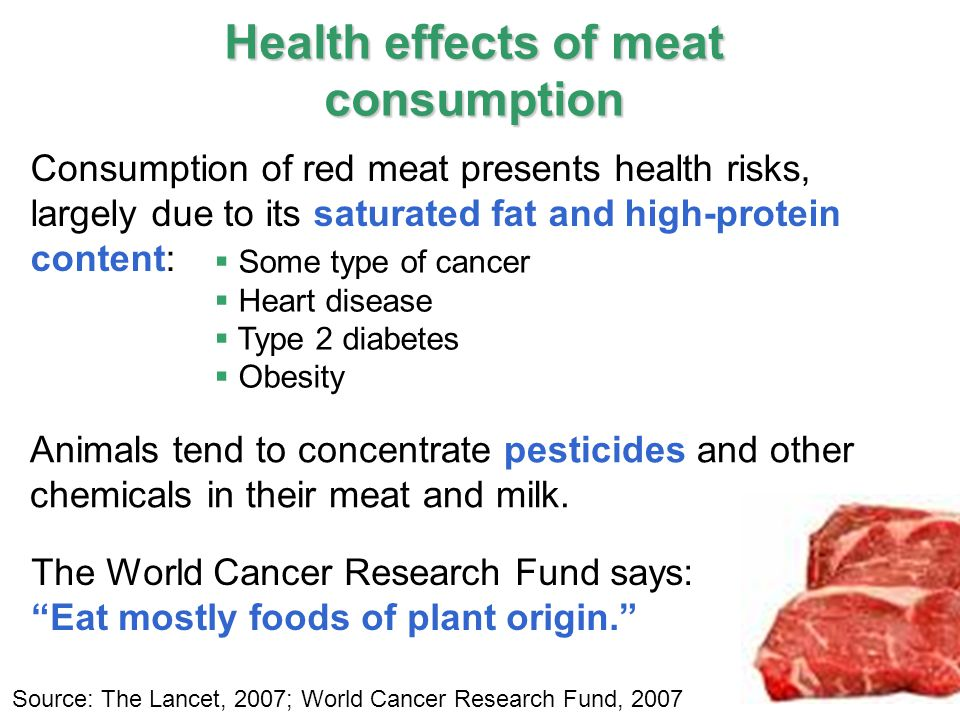 14 IPCC Health effects of meat consumption  Some type of cancer  Heart disease  Type 2 diabetes  Obesity Consumption of red meat presents health risks, largely due to its saturated fat and high-protein content: Animals tend to concentrate pesticides and other chemicals in their meat and milk.