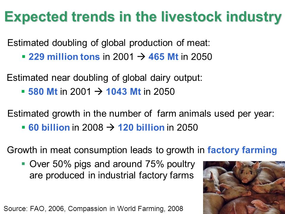 17 IPCC Expected trends in the livestock industry Estimated doubling of global production of meat:  229 million tons in 2001  465 Mt in 2050 Source: FAO, 2006, Compassion in World Farming, 2008 Estimated near doubling of global dairy output:  580 Mt in 2001  1043 Mt in 2050 Estimated growth in the number of farm animals used per year:  60 billion in 2008  120 billion in 2050 Growth in meat consumption leads to growth in factory farming  Over 50% pigs and around 75% poultry are produced in industrial factory farms