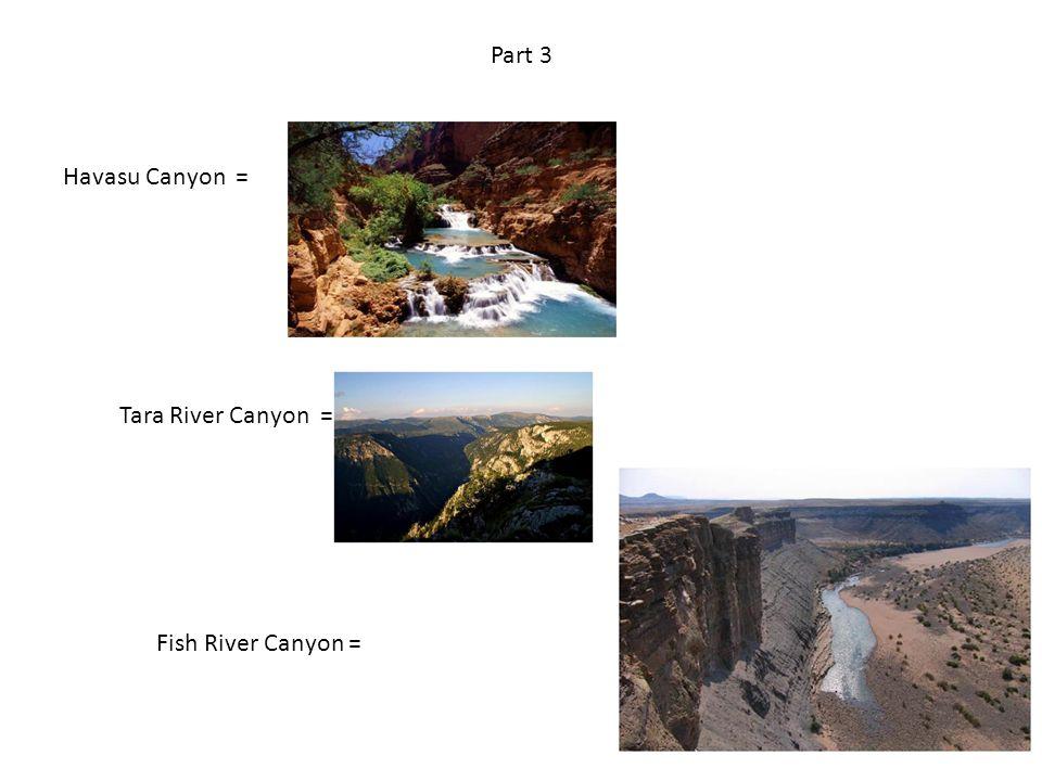 Part 3 Havasu Canyon = Tara River Canyon = Fish River Canyon =