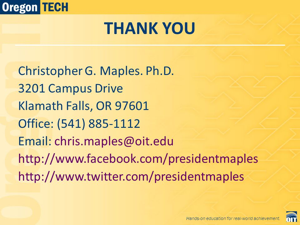 THANK YOU Christopher G. Maples. Ph.D.