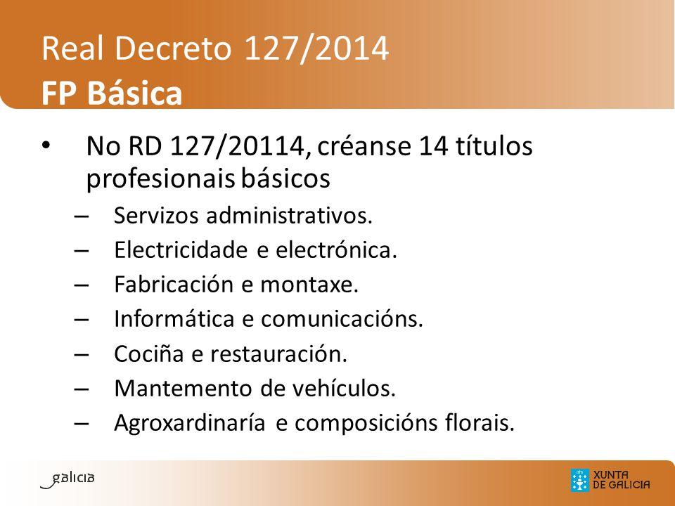 Real Decreto 127/2014 FP Básica No RD 127/20114, créanse 14 títulos profesionais básicos – Servizos administrativos. – Electricidade e electrónica. –