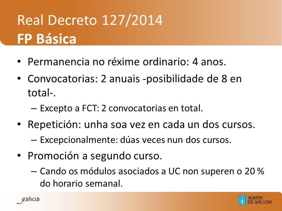 Real Decreto 127/2014 FP Básica Permanencia no réxime ordinario: 4 anos. Convocatorias: 2 anuais -posibilidade de 8 en total-. – Excepto a FCT: 2 conv