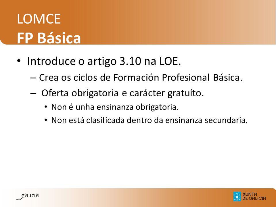 LOMCE FP Básica Introduce o artigo 3.10 na LOE. – Crea os ciclos de Formación Profesional Básica. – Oferta obrigatoria e carácter gratuíto. Non é unha