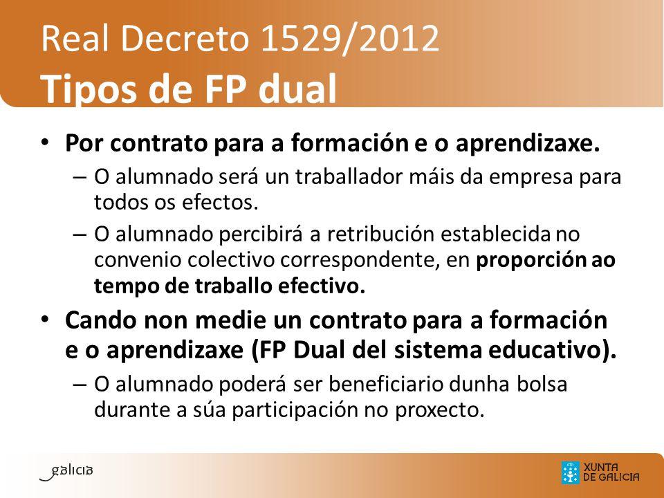 Real Decreto 1529/2012 Tipos de FP dual Por contrato para a formación e o aprendizaxe. – O alumnado será un traballador máis da empresa para todos os
