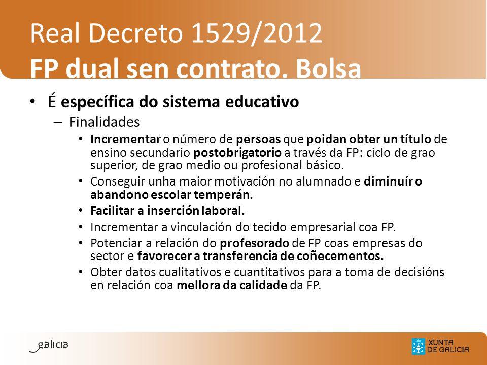 Real Decreto 1529/2012 FP dual sen contrato. Bolsa É específica do sistema educativo – Finalidades Incrementar o número de persoas que poidan obter un