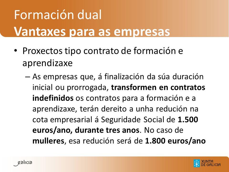 Formación dual Vantaxes para as empresas Proxectos tipo contrato de formación e aprendizaxe – As empresas que, á finalización da súa duración inicial