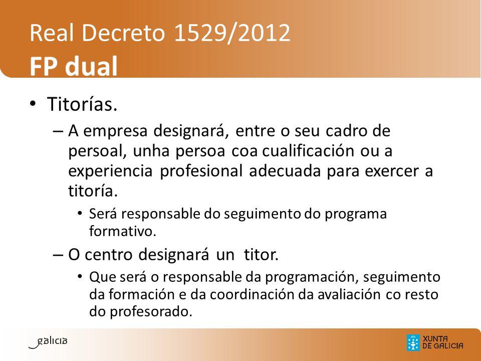 Real Decreto 1529/2012 FP dual Titorías. – A empresa designará, entre o seu cadro de persoal, unha persoa coa cualificación ou a experiencia profesion