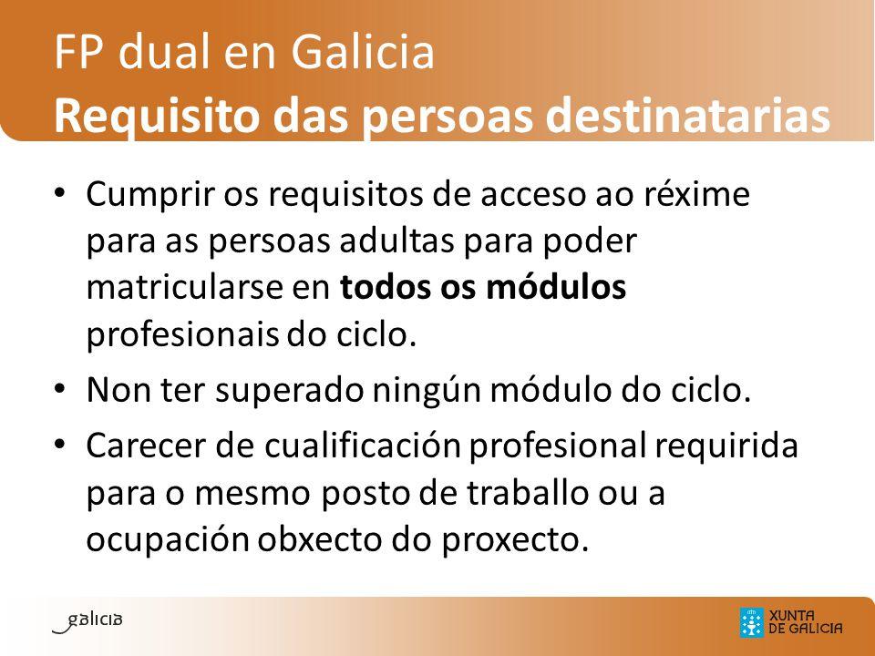 FP dual en Galicia Requisito das persoas destinatarias Cumprir os requisitos de acceso ao réxime para as persoas adultas para poder matricularse en to