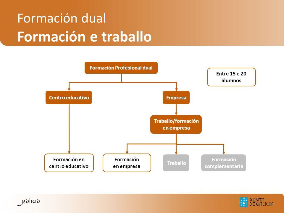 Formación Profesional dual Empresa Traballo Formación complementaria Formación en centro educativo Formación en empresa Traballo/formación en empresa