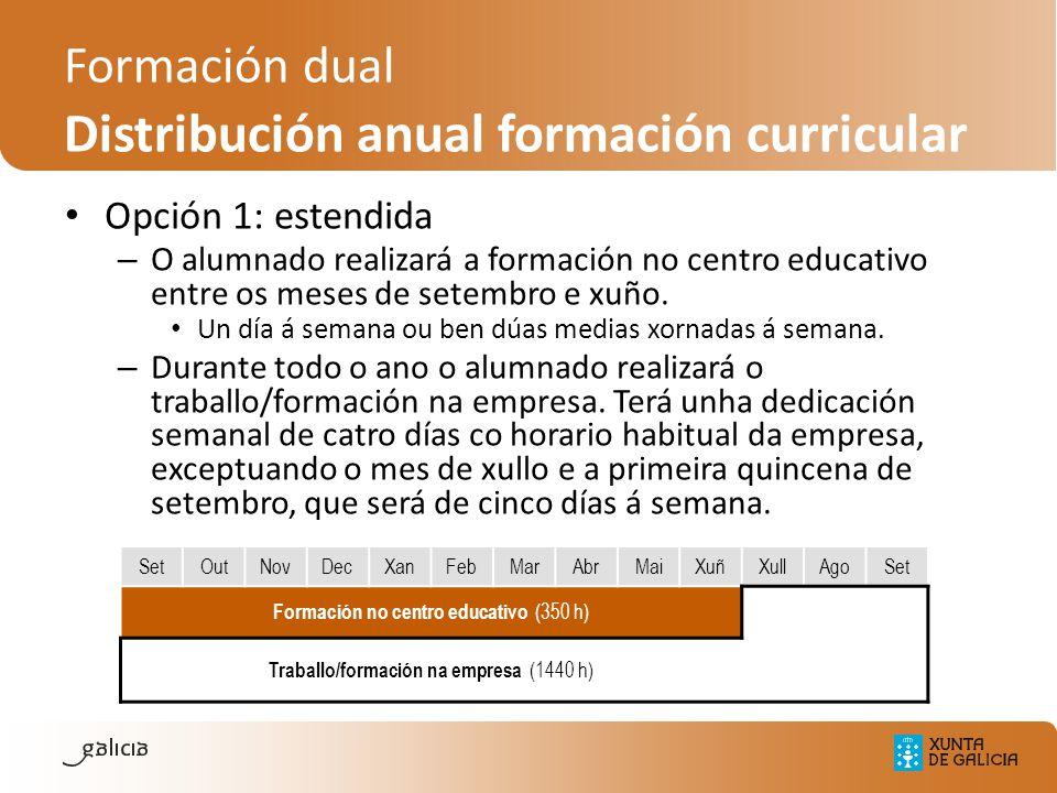 Opción 1: estendida – O alumnado realizará a formación no centro educativo entre os meses de setembro e xuño. Un día á semana ou ben dúas medias xorna