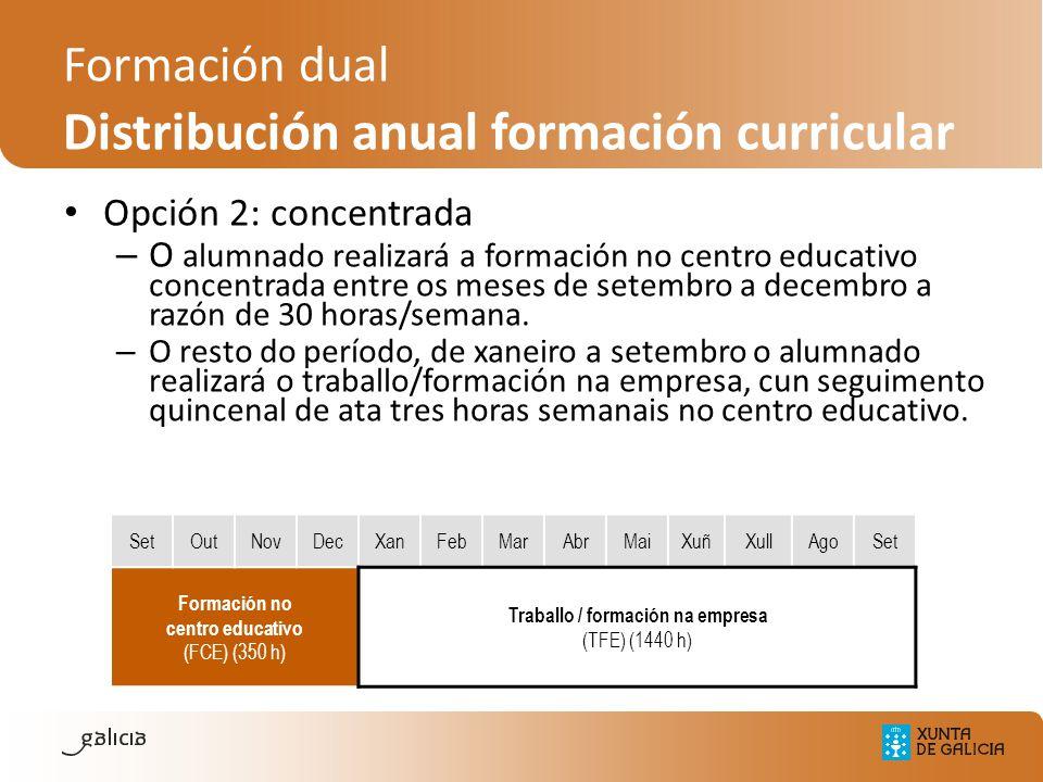 Opción 2: concentrada – O alumnado realizará a formación no centro educativo concentrada entre os meses de setembro a decembro a razón de 30 horas/sem