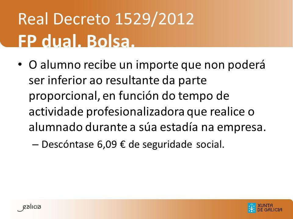 Real Decreto 1529/2012 FP dual. Bolsa. O alumno recibe un importe que non poderá ser inferior ao resultante da parte proporcional, en función do tempo
