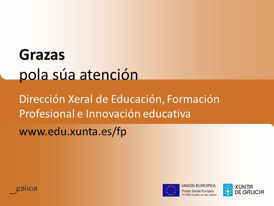 Grazas pola súa atención Dirección Xeral de Educación, Formación Profesional e Innovación educativa www.edu.xunta.es/fp