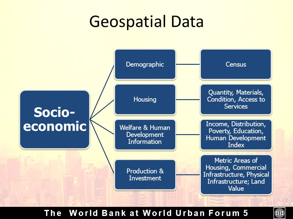 The World Bank at World Urban Forum 5 Geospatial Data Socio- economic DemographicCensusHousing Quantity, Materials, Condition, Access to Services Welfare & Human Development Information Income, Distribution, Poverty, Education, Human Development Index Production & Investment Metric Areas of Housing, Commercial Infrastructure, Physical Infrastructure; Land Value