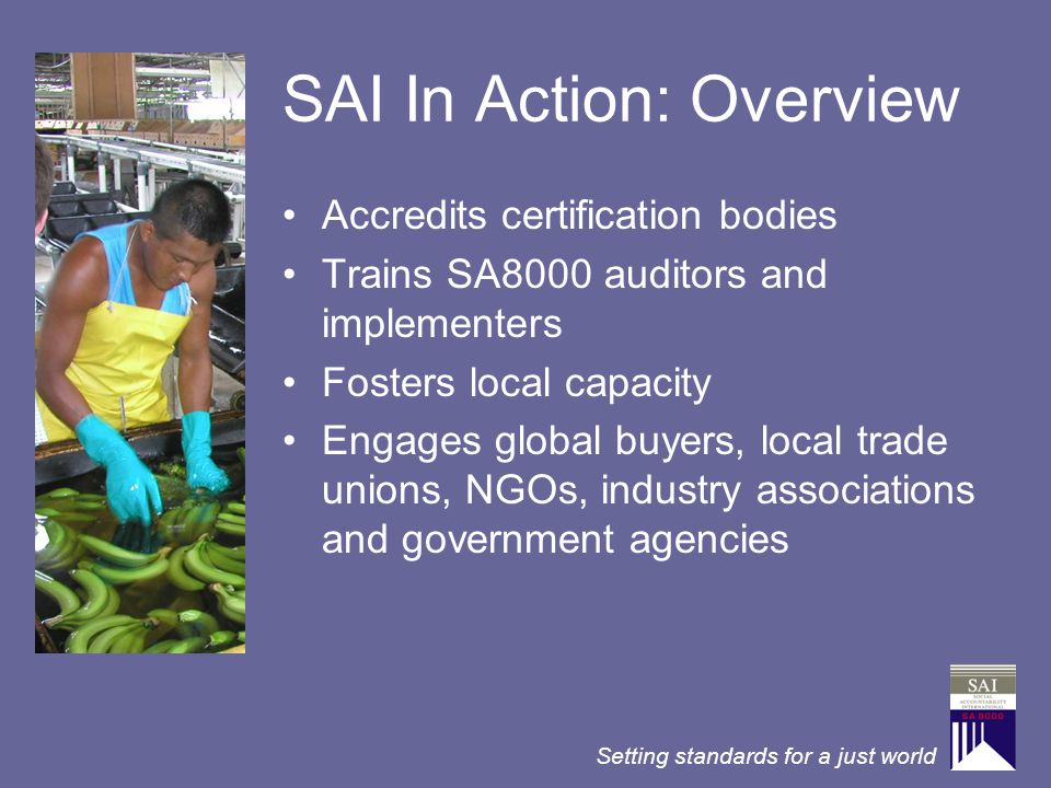 Setting standards for a just world SAI In Action: Overview Accredits certification bodies Trains SA8000 auditors and implementers Fosters local capaci