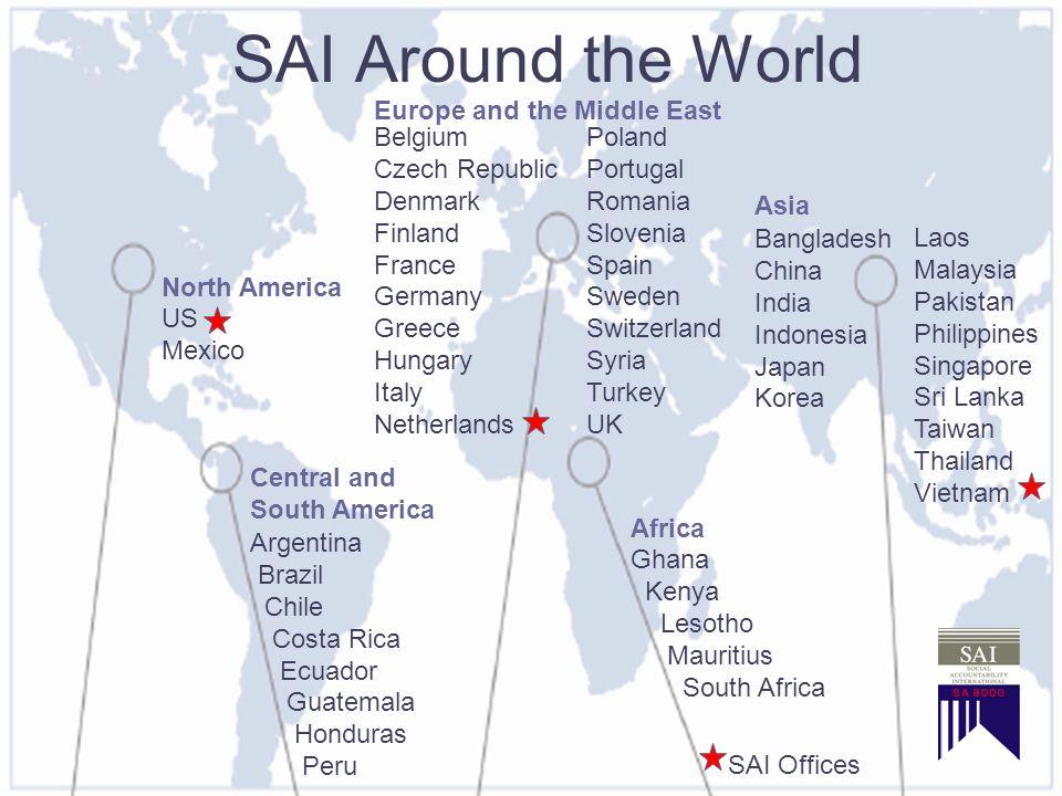Setting standards for a just world SAI Around the World US Mexico Argentina Brazil Chile Costa Rica Ecuador Guatemala Honduras Peru BelgiumPoland Czec