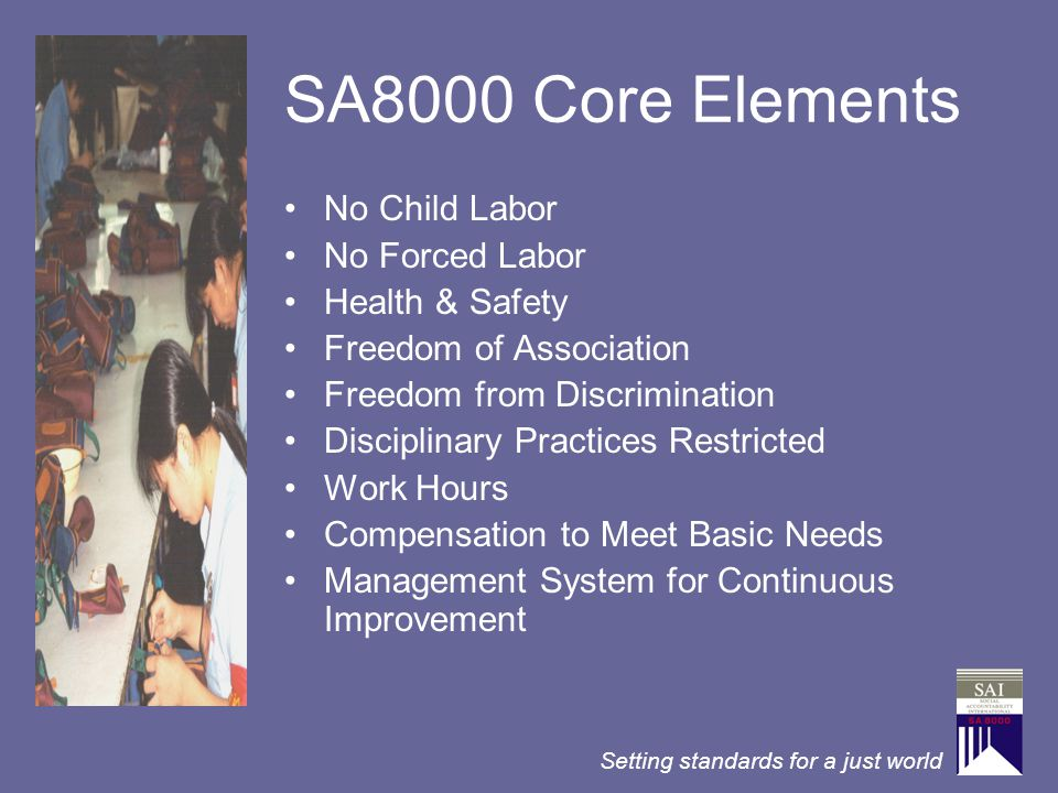 Setting standards for a just world SA8000 Core Elements No Child Labor No Forced Labor Health & Safety Freedom of Association Freedom from Discriminat