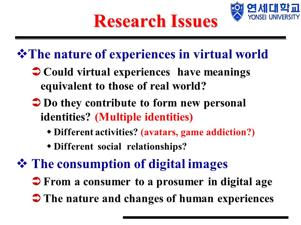 Research Issues  The nature of experiences in virtual world  Could virtual experiences have meanings equivalent to those of real world?  Do they co