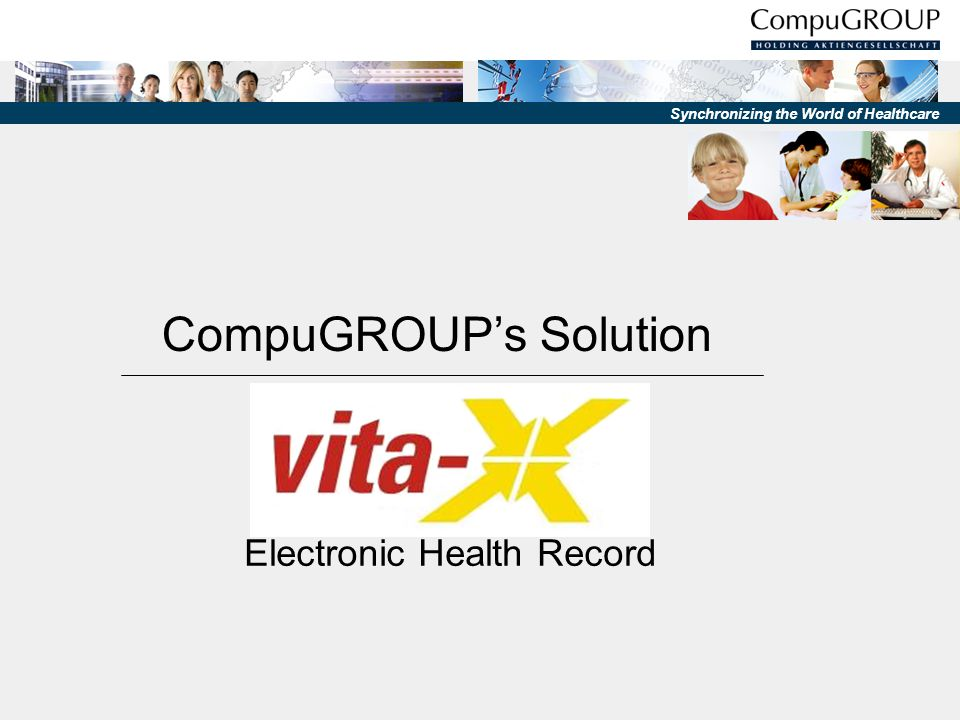 Synchronizing the World of Healthcare Health professional Health professional PRIMARY SYSTEM (GP-System,HIS,…) data server logon server logon server directory server - handle authorization - provide session-keys adaptor - stores pointers to data-packets - encrypted & fragmented EHR-data vita-X - overview