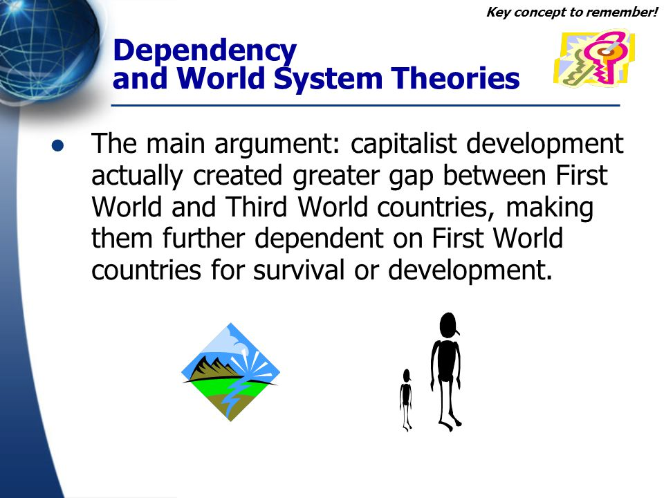 Dependency and World System Theories Countries develop at an uneven pace in relation to one another.