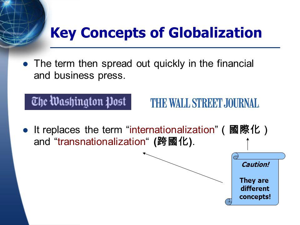 Internationalization: increasing interwovenness (相互 交織) of national economies through international trade.