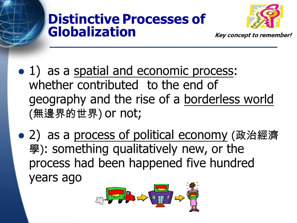 Distinctive Processes of Globalization 3) as a socio-cultural process: whether leads to social polarization ( 社會兩極化 ), social exclusion, community fragmentation ( 社區零碎化 ), consumption homogeneity and identity crisis ( 身份危機 ).