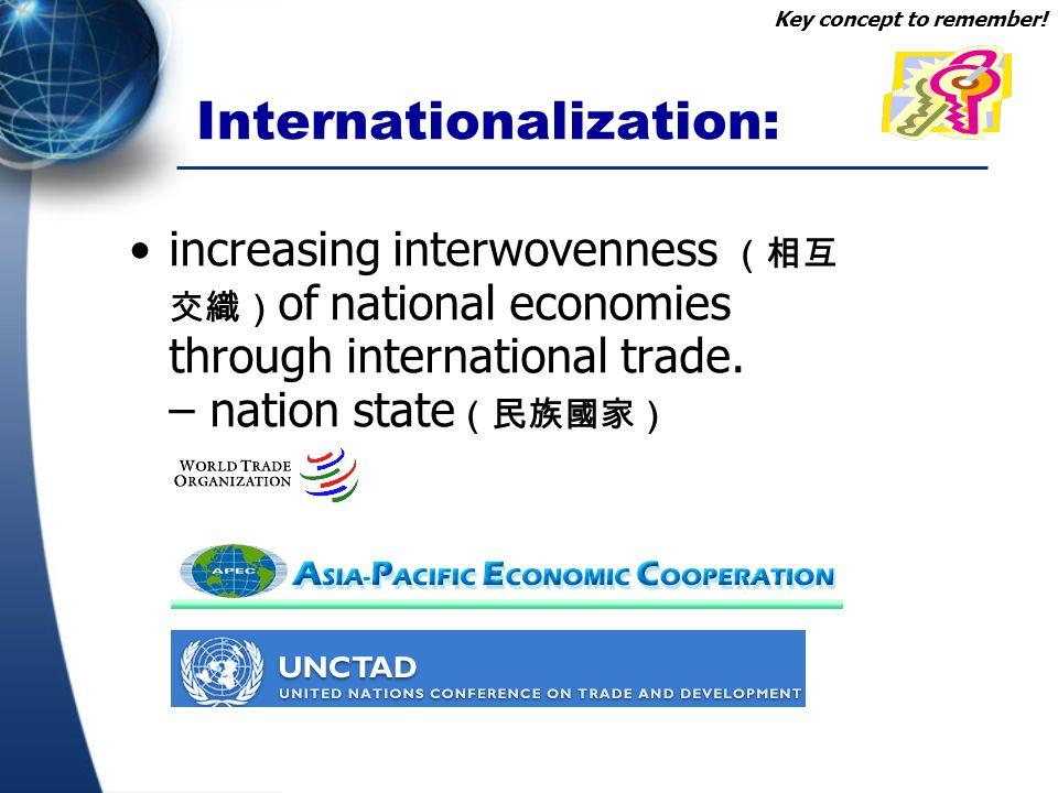 Internationalization: increasing interwovenness (相互 交織) of national economies through international trade. – nation state (民族國家) Key concept to rememb