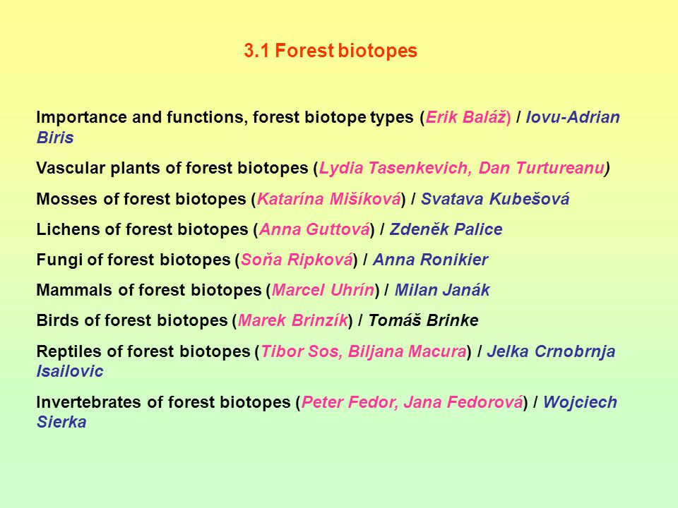 3.1 Forest biotopes Importance and functions, forest biotope types (Erik Baláž) / Iovu-Adrian Biris Vascular plants of forest biotopes (Lydia Tasenkev