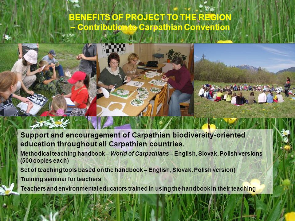 Support and encouragement of Carpathian biodiversity-oriented education throughout all Carpathian countries.
