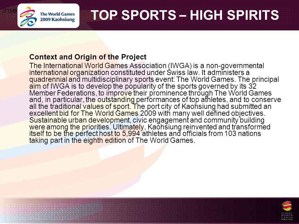 TOP SPORTS – HIGH SPIRITS Insert your logo here Context and Origin of the Project The International World Games Association (IWGA) is a non-governmental international organization constituted under Swiss law.