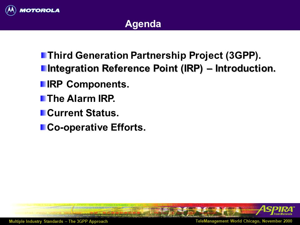 Multiple Industry Standards – The 3GPP Approach TeleManagement World Chicago, November 2000 SA5 (Telecom Management Group) Structure SA5 Plenary Group