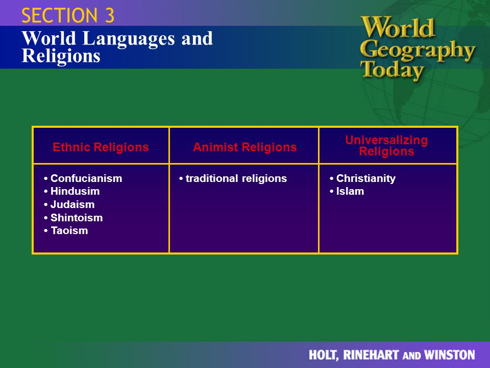 SECTION 3 Ethnic Religions Confucianism Hindusim Judaism Shintoism Taoism Animist Religions traditional religions Universalizing Religions Christianit
